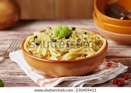 Pasta with broccoli sauce - stock photo