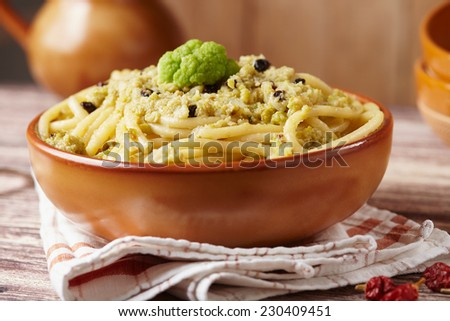 Pasta with broccoli sauce - stock photo