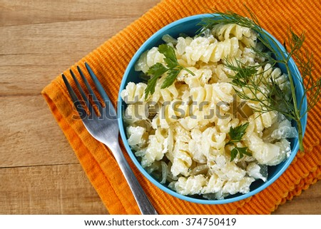 pasta with cheese sauce - stock photo