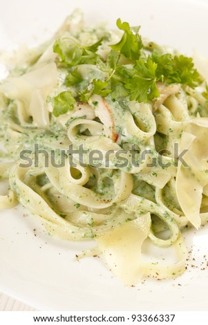 pasta with chicken - stock photo