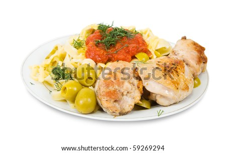 pasta with chicken and catchup  on plate - stock photo