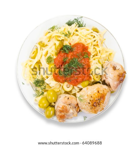 pasta with chicken and olives  on plate - stock photo