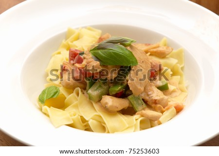 pasta with chicken and vegetable - stock photo