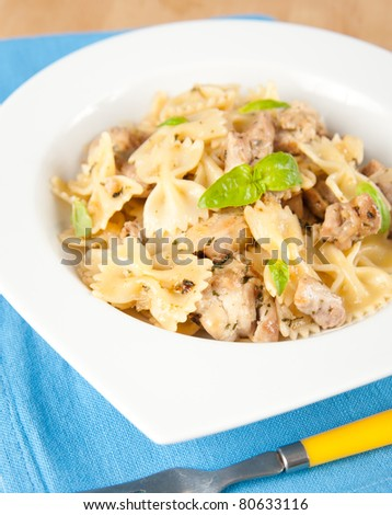 Pasta with Chicken Pieces for Lunch - stock photo