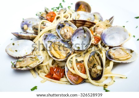 Pasta with Clam Dinner Dish on a the table