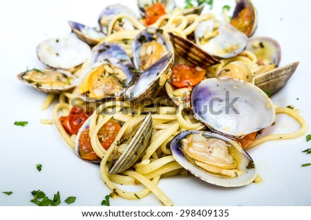 Pasta with Clam Dish on a the table
