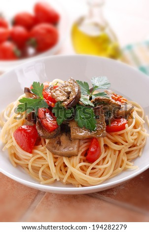 pasta with eggplant and cherry tomatoes