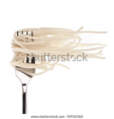 Pasta with fork - stock photo