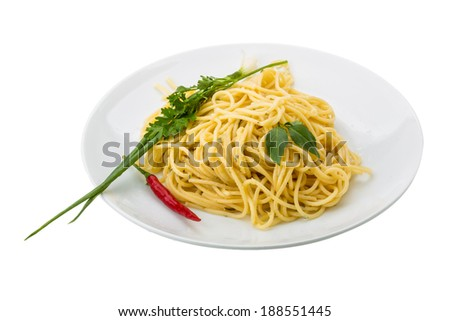 Pasta with four cheeses isolated - stock photo