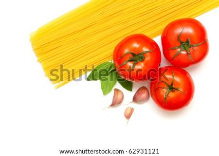 Pasta with fresh tomato, basil and garlic isolated on white background - stock photo