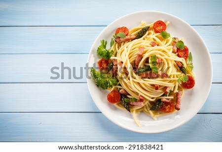 Pasta with meat and vegetables  - stock photo