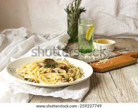 Pasta with mushroom sauce - stock photo