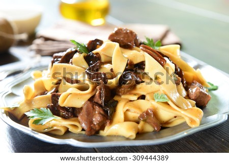 Pasta with mushrooms - stock photo