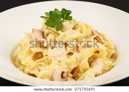 Pasta with mushrooms :An delicious Pasta dish with  mushrooms Location : At Rawan Cake in Amman ,Jordan - stock photo