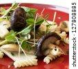 pasta with mushrooms and cream sauce - stock photo