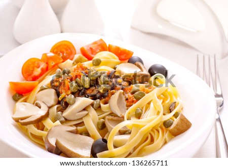 Pasta with mushrooms, capers and olives
