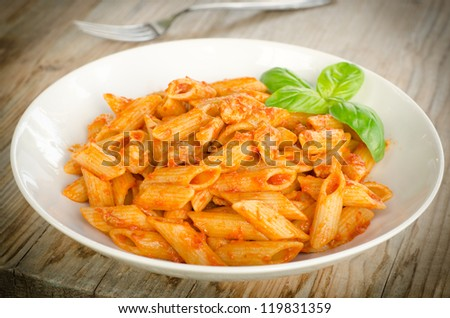 Pasta with ragout - stock photo