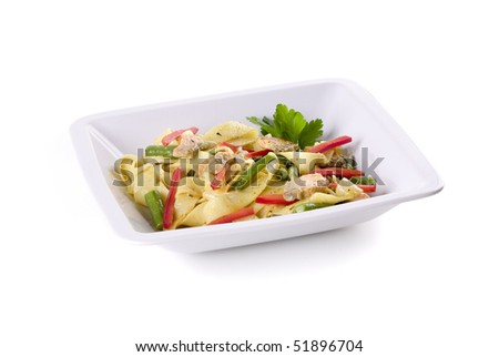pasta with salmon in bowl on white ground - stock photo