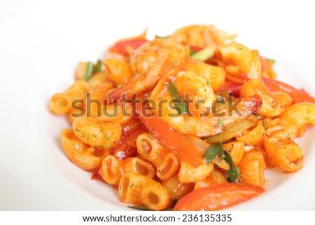 pasta with shrimp and tomato - stock photo