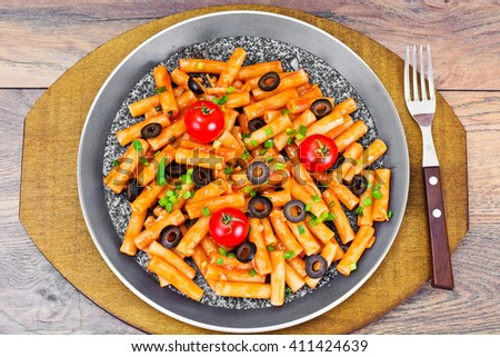 Pasta with Tomato Ketchup Sauce, Green Onions and Cheese Studio Photo