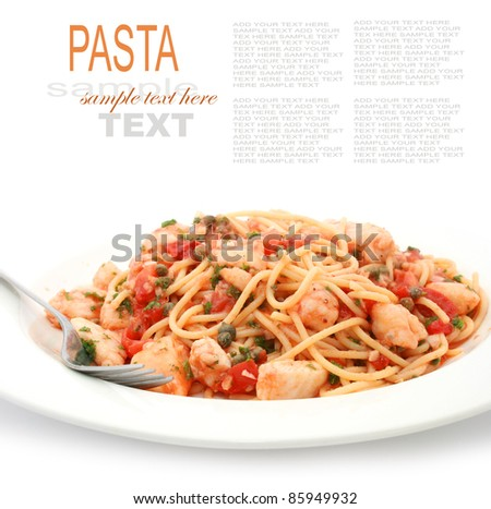 pasta with tomato sauce and fish fillet - stock photo