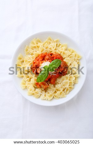 pasta with tomato sauce, food top view - stock photo