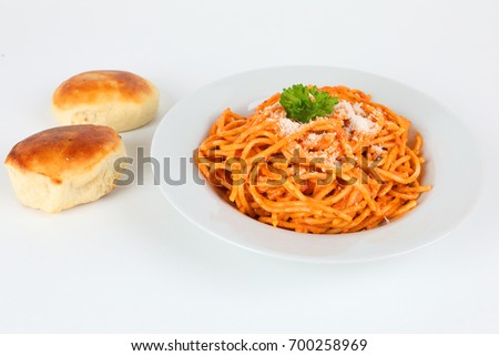 Pasta with tomato sauce on a plate