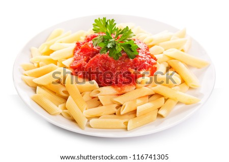 Pasta with tomato sauce on white background - stock photo