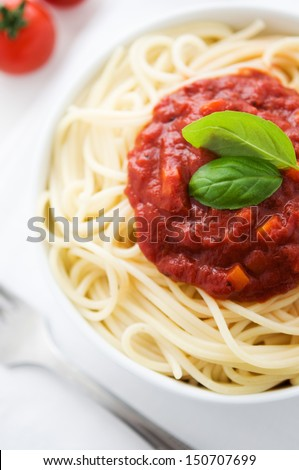 Pasta with tomato sauce top view - stock photo