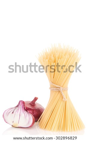 Pasta with two onions - stock photo