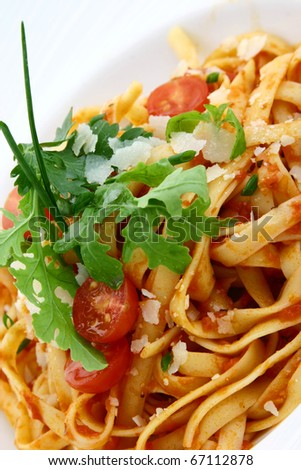 pasta with vegetables - stock photo