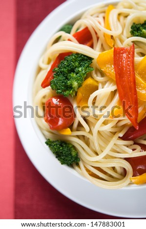 Pasta with vegetables, top view
