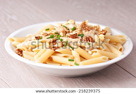 Pasta with walnut sauce - stock photo