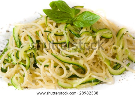 Pasta with zucchini and pepper - stock photo