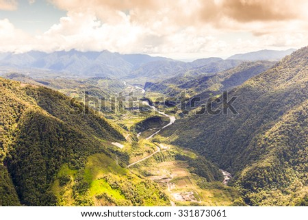 Pastaza Valley In The Andes Mountains Ecuador Aerial Shot From Full Size Helicopter - stock photo