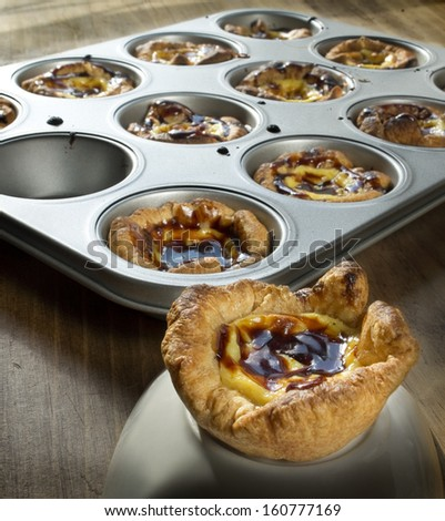 Pasteis de Belem, typical Portuguese custard pies. - stock photo
