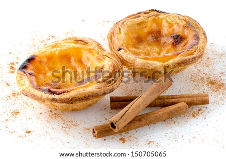 Pasteis de nata, typical pastry from Lisbon - Portugal, isolated on white background. - stock photo