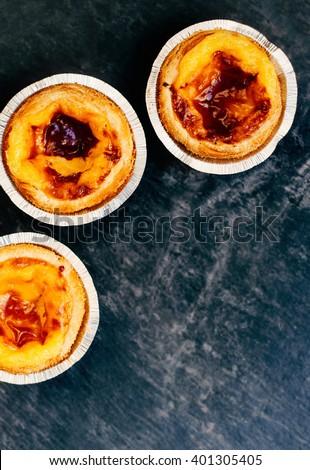 Pasteis de nata - typical Portuguese egg tart dessert / egg tart / sweet and delicious dessert - stock photo
