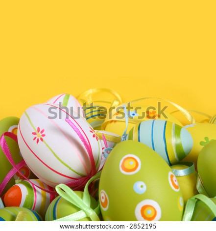 Pastel and colored Easter eggs - stock photo