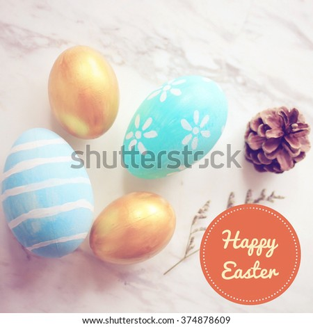 Pastel and colorful easter eggs with happy easter word for postcard - stock photo