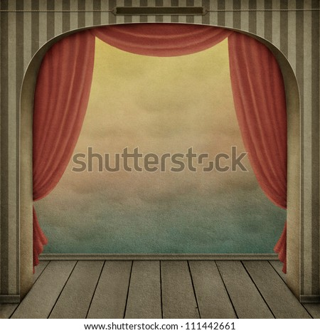 Pastel background with arch and curtains - stock photo