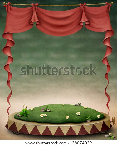 Pastel background with meadow and red curtain - stock photo