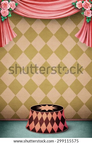Pastel background  with podium - stock photo
