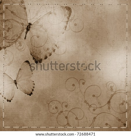 pastel  blue and purple  background with butterfly - stock photo