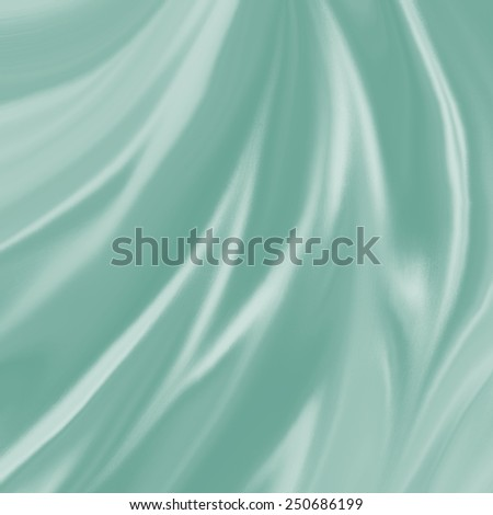 pastel blue green material background illustration, elegant waves of silk or satin fabric flowing or draped in abstract design - stock photo