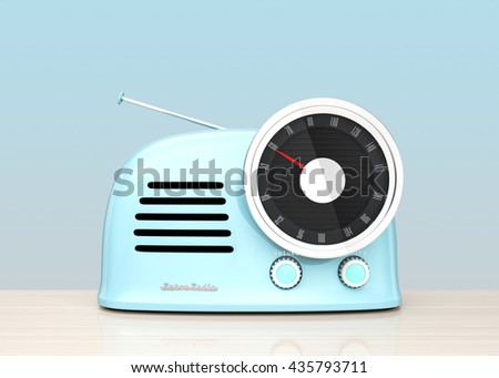 Pastel blue retro style radio isolated on light blue background. 3D rendering image