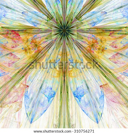 Pastel blue,yellow,red,green exploding flower/star fractal background with a detailed decorative pattern, all in high resolution. - stock photo