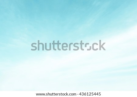 Pastel blur heaven clouds sky background. Soft focus blue sky white sunlight day time background. Abstract blurred of sunlight. Open view out windows. Cyan gradient backdrop. Blurry nature summer. - stock photo