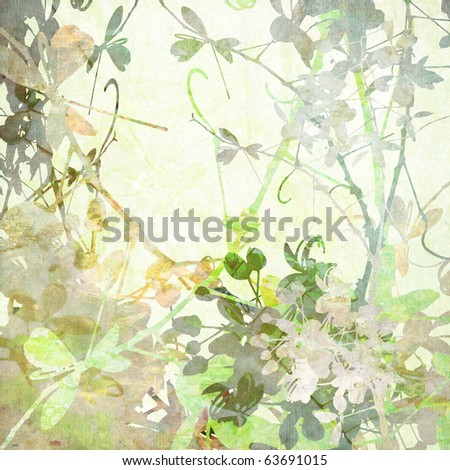 Pastel Butterfly Flowers Art in Many Textures on Paper - stock photo