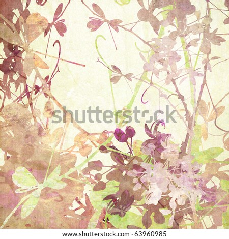 Pastel Butterfly Flowers Artwork in Many Textures on Paper - stock photo